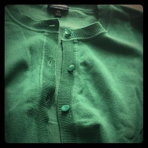 Talbots Kelly Green Cardigan Sweater.